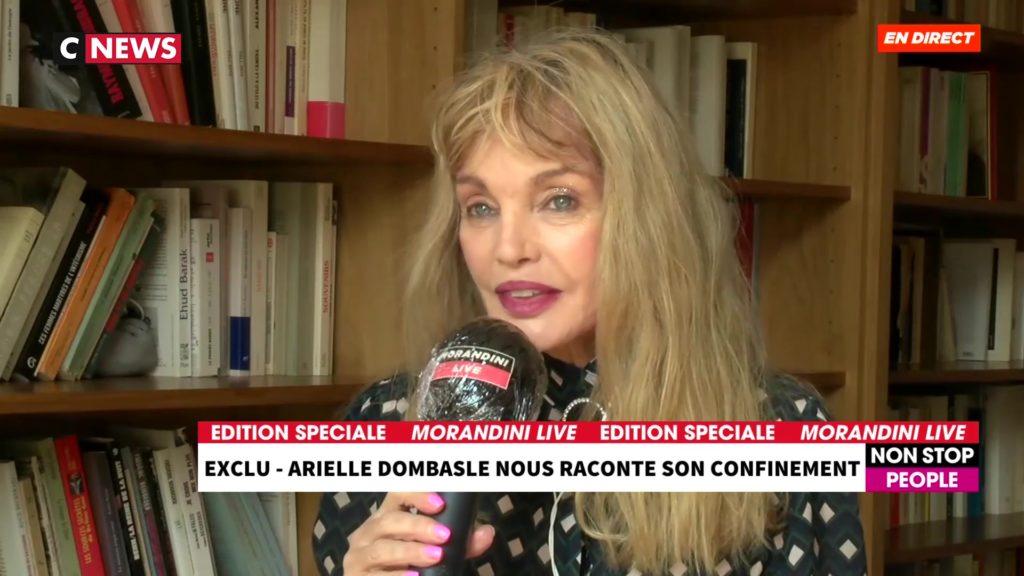 Arielle Dombasle en duplex dans l'émission Morandini Live sur CNEWS.