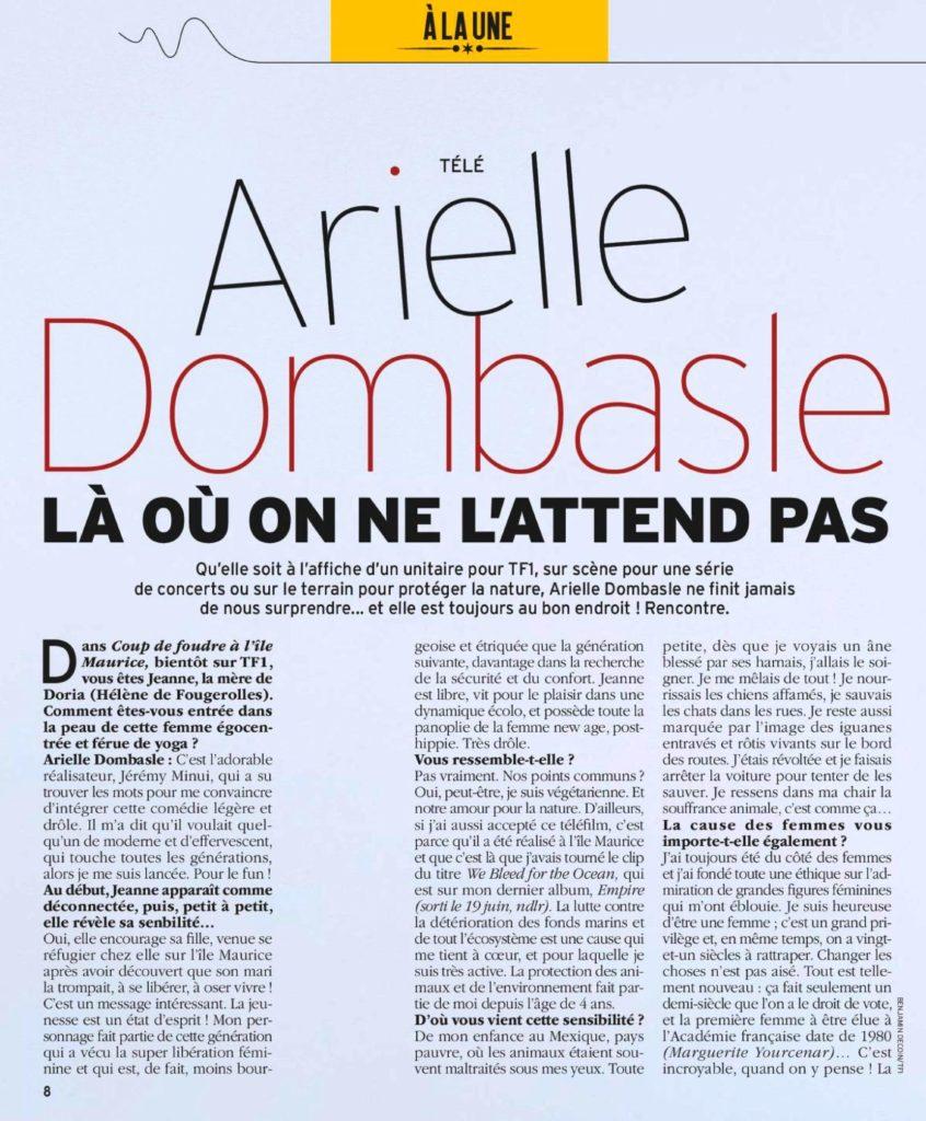 Interview d'Arielle Dombasle dans Télé 7 Jours